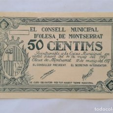Billetes locales: F 1845 BILLETE CONSEJO MUNICIPAL OLESA DE MONTSERRAT 50 CÉNTIMOS T-1928 EBC+. Lote 212488402