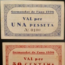 Billetes locales: GERMANDAT DE L'ANY 1896 - SERIE COMPLETA (50 CTS Y 1 PTA). Lote 212581195