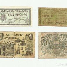 Billetes locales: 4 BILLETES LOCALES O DE PUEBLO DE LA GUERRA CIVIL ESPAÑOLA, TODOS DE CATALUÑA. LOTE 1455. Lote 212762848