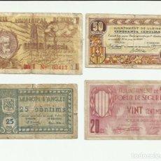 Billetes locales: 4 BILLETES LOCALES O DE PUEBLO DE LA GUERRA CIVIL ESPAÑOLA, TODOS DE CATALUÑA. LOTE 1456. Lote 212763871