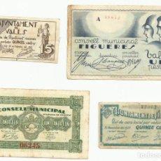 Billetes locales: 4 BILLETES LOCALES O DE PUEBLO DE LA GUERRA CIVIL ESPAÑOLA, TODOS DE CATALUÑA. LOTE 1457. Lote 212777430