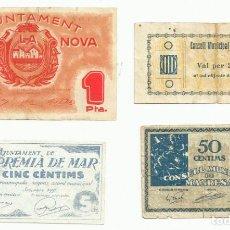 Billetes locales: 4 BILLETES LOCALES O DE PUEBLO DE LA GUERRA CIVIL ESPAÑOLA, TODOS DE CATALUÑA. LOTE 1458. Lote 212777741