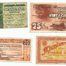 Billetes locales: 4 BILLETES LOCALES O DE PUEBLO DE LA GUERRA CIVIL ESPAÑOLA, TODOS DE CATALUÑA. LOTE 1459. Lote 212778271