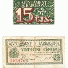 Billetes locales: 2 BILLETES LOCALES O DE PUEBLO DE LA GUERRA CIVIL ESPAÑOLA, TODOS DE CATALUÑA. LOTE 1462. Lote 212784572
