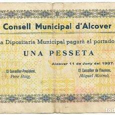Billetes locales: ALCOVER (TARRAGONA), BILLETE DE 1 PESETA DE 11 DE JUNIO DE 1937, SERIE A. RARO LOTE 1465. Lote 212995276