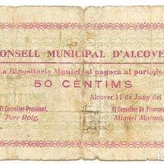 Billetes locales: ALCOVER (TARRAGONA), BILLETE DE 50 CENTIMOS DE 11 DE JUNIO DE 1937, SERIE B. RARO LOTE 1466. Lote 212995877