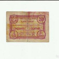 Billetes locales: L'AMETLLA DE MAR (TARRAGONA), BILLETE DE 50 CENTIMOS DE 1 DE JULIO DE 1938, SERIE B. LOTE 1468. Lote 212999526