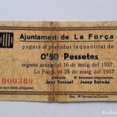 Billetes locales: F 1844 BILLETE 50 CÉNTIMOS AYUNTAMINETO LA FORÇA T-1215 R. Lote 213042302