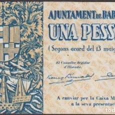 Billetes locales: BILLETES LOCALES GUERRA CIVIL - BARCELONA - 1 PESSETA 1937 - T-370C (EBC+). Lote 213073780