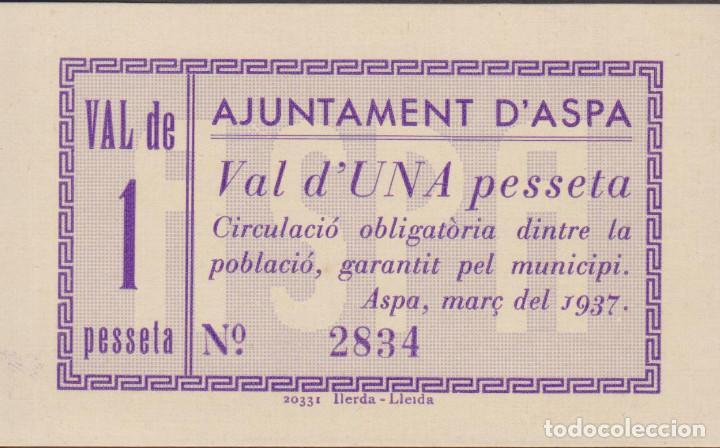BILLETES LOCALES - ASPA (LLEIDA) - 1 PESSETA 1937 - T-304A (SC) (Numismática - Notafilia - Billetes Locales)