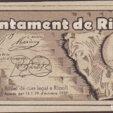 Billetes locales: BILLETES LOCALES - RIPOLL - GIRONA - 1 PESETA 1937 - T-2464C (SC). Lote 213074386