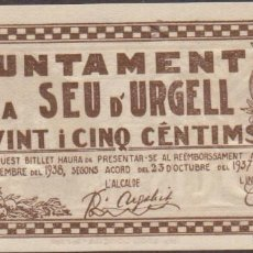 Billetes locales: BILLETES LOCALES - SEU D´URGELL - LLEIDA - 25 CÉNTIMS 1937 - T-2753 (SC). Lote 213074801