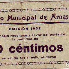 Billetes locales: CONSEJO MUNICIPAL ARNES 50 CENTIMOS. Lote 213297367
