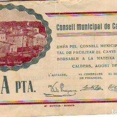 Billetes locales: CONSELL MUNICIPAL DE CALDERS UNA PTA.. Lote 213298235