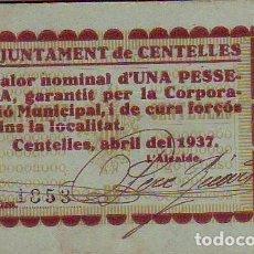 Billetes locales: AJUNTAMENT DE CENTELLES UNA PESSETA. Lote 213298320