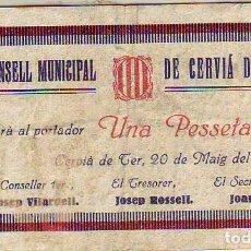 Billetes locales: CONSELL MUNICIPAL DE CERVIA DE TER UNA PESSETA. Lote 213298412