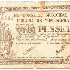 Billetes locales: OLESA DE MONTSERRAT (BARCELONA), BILLETE DE 1 PESETA, DE 18 DE MAYO DE 1937. LOTE 1485. Lote 213690653