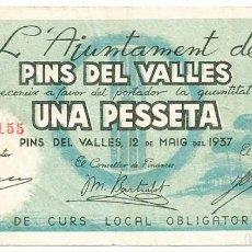 Billetes locales: PINS DEL VALLES (BARCELONA), BILLETE DE 1 PESETA, 12 DE MAYO DE 1937. LOTE 1492. Lote 213714982