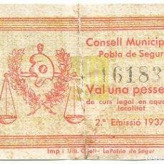 Billetes locales: POBLA DE SEGUR, LA (LLEIDA), BILLETE DE 1 PESETA, (1937). ESCASO. LOTE 1493. Lote 213715573