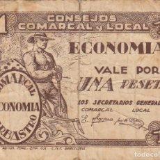 Billetes locales: GUERRA CIVIL - BILLETE LOCAL CONSEJOS COMARCAL Y LOCAL DE BARBASTRO. Lote 213948363