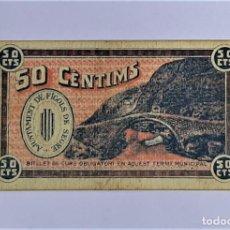 Billetes locales: BILLETE AYUNTAMIENTO FIGOLS DE SEGRE 50 CENTIMOSA SERIE A T-1170 R. Lote 214205902
