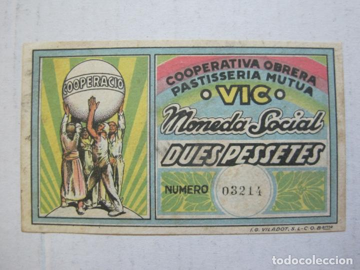 Billetes locales: VIC-COOPERATIVA OBRERA PASTISSERIA MUTUA-MONEDA SOCIAL-BILLETE 2 PTAS-VER FOTOS-(73.436) - Foto 2 - 214765156
