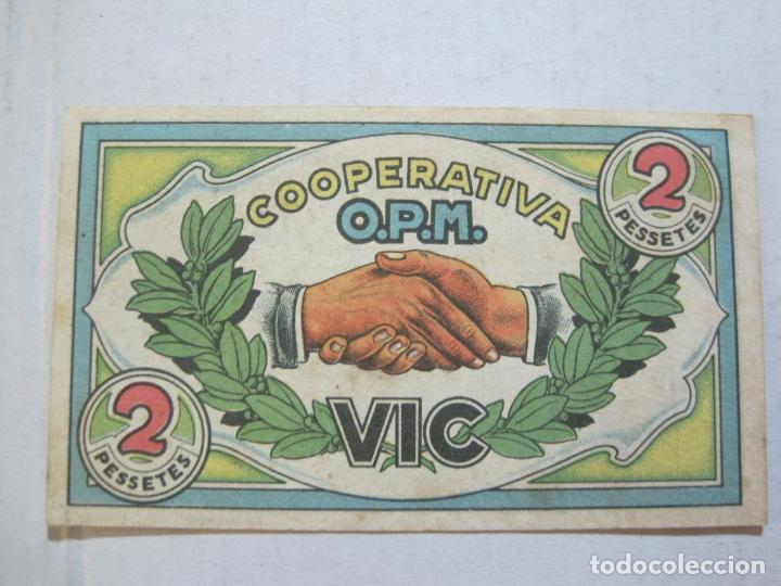 Billetes locales: VIC-COOPERATIVA OBRERA PASTISSERIA MUTUA-MONEDA SOCIAL-BILLETE 2 PTAS-VER FOTOS-(73.436) - Foto 3 - 214765156