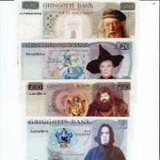 Billetes locales: LOTE FORMADO POR LOS 5 BILLETES GRINGOTTS BANK **HARRY POTTER**EN PERFECTO ESTADO. Lote 214950650