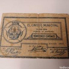 Billetes locales: CIUDAD REAL. CONSEJO MUNICIPAL. 25 CENTIMOS. Lote 215965286