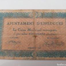 Billetes locales: ESPLUGUES. BARCELONA. 50 CENTIMS. Lote 215977856