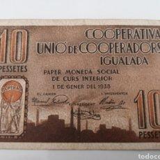 Billets locaux: IGUALADA. BARCELONA. UNIO DE COOPERADORS. 10 PESSETES.. Lote 216017696