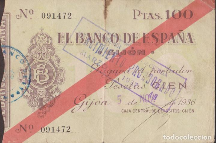 BILLETES LOCALES - GIJÓN (ASTURIAS) 100 PESETAS 1936 - PG-407 (MBC-) (Numismática - Notafilia - Billetes Locales)
