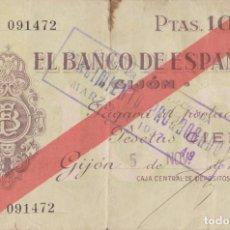 Billetes locales: BILLETES LOCALES - GIJÓN (ASTURIAS) 100 PESETAS 1936 - PG-407 (MBC-). Lote 216642677