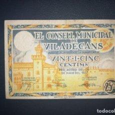 Billetes locales: S-60 BILLETE 25 CÉNTIMOS 1937 VILADECANS. MBC. SE MANDA EL DE LA FOTO. Lote 216821025