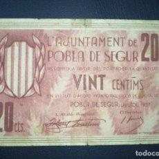Billetes locales: B-67 BILLETE 20 CÉNTIMOS 1937 POBLA DE SEGUR 100% ORIGINAL CON RESELLO ESQUINA ALTA DERECHA.. Lote 216822210