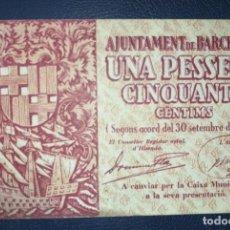 Billetes locales: B-61 BILLETE LOCAL 1,50 PESETAS 1937 BARCELONA MBC. 100% ORIGINAL. Lote 216866590
