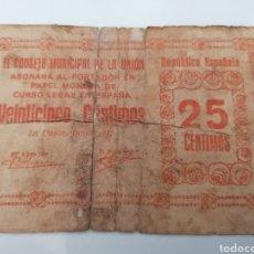Billetes locales: LA UNIÓN. MURCIA. 25 CENTIMOS. GUERRA CIVIL. Lote 217346443