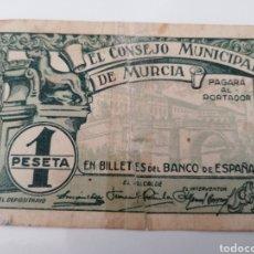 Billetes locales: MURCIA. CONSEJO MUNICIPAL. 1 PESETA.. Lote 217346555