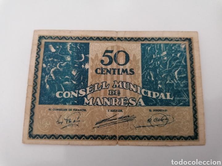 MANRESA. BARCELONA. 50 CENTIMS (Numismática - Notafilia - Billetes Locales)