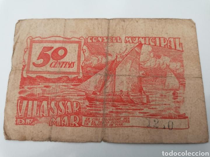 Billetes locales: VILASSAR DE MAR. BARCELONA. 50 CENTIMS - Foto 2 - 217398443