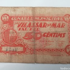 Billetes locales: VILASSAR DE MAR. BARCELONA. 50 CENTIMS. Lote 217398443