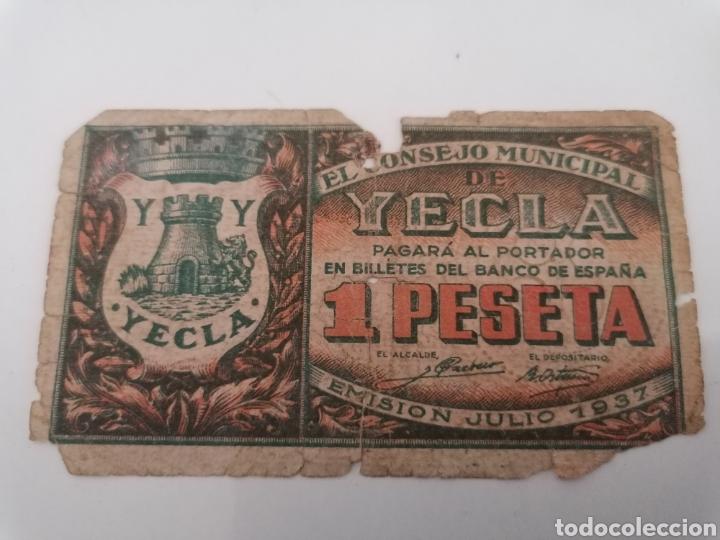 YECLA. MURCIA. 1 PESETA (Numismática - Notafilia - Billetes Locales)