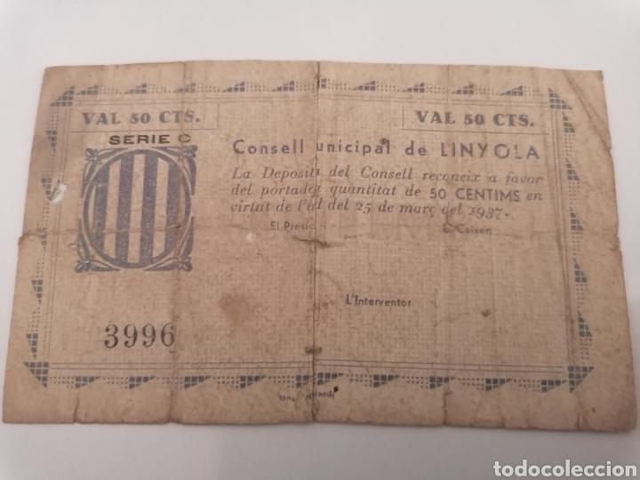 LINYOLA. LLEIDA. 50 CENTIMS. (Numismática - Notafilia - Billetes Locales)
