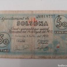 Billetes locales: SOLSONA. LLEIDA. 50 CENTIMS. Lote 217503320