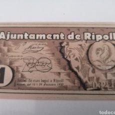 Billetes locales: RIPOLL. GIRONA. 1 PESSETA. Lote 217503352