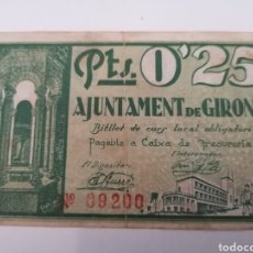 Billetes locales: GIRONA. 25 CENTIMS. Lote 217503405