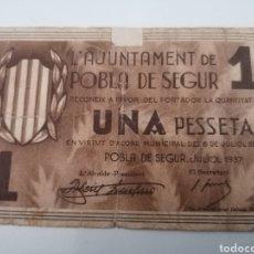Billetes locales: POBLA DE SEGUR. LLEIDA. 1 PESSETA. Lote 217503437