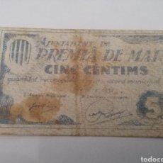 Billetes locales: PREMIA DE MAR. BARCELONA. 5 CENTIMS. Lote 217515213
