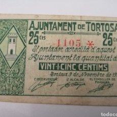 Billetes locales: TORTOSA. TARRAGONA. 25 CENTIMS. Lote 217515262