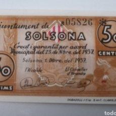 Billetes locales: SOLSONA. LLEIDA. 50 CENTIMS. SC. Lote 217516080